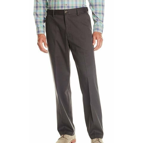 Dockers Mens Khaki Pants Gray Size 40x32 Relaxed-Fit Flat-Front Stretch