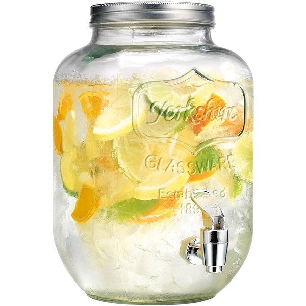 Palais Glassware High Quality Clear Mason Jar Beverage Dispenser - Traditional Tin Screw Off Lid - 1 Gallon Capacity -
