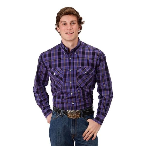 Roper Western Shirt Mens L/S Plaid Snap Purple