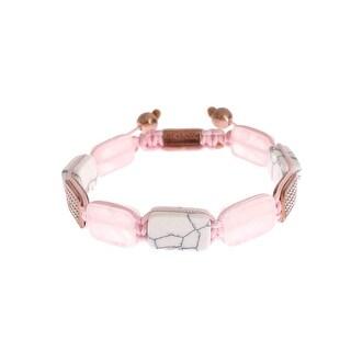 Nialaya CZ Quartz Howlite Rose Gold 925 Bracelet