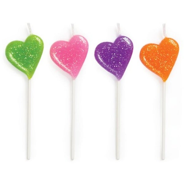 Shop Club Pack Of 48 Multi Color Glitter Hearts Decorative Birthday Cupcake Pick Party Candles 325