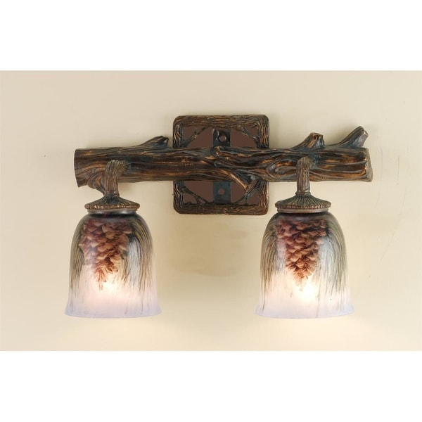 """Meyda Tiffany 49521 2 Light 16"""" Wide Bathroom Fixture from the Pinecones Collection - tiffany glass"""