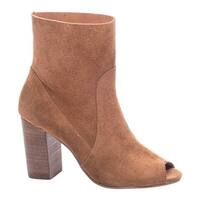 Chinese Laundry Women's Tom Girl Open Toe Bootie Whiskey Split Suede