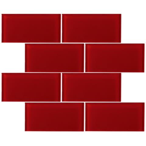 """TileGen. 3"""" x 6"""" Glass Subway Tile in Red Wall Tile (80 tiles/10sqft.)"""
