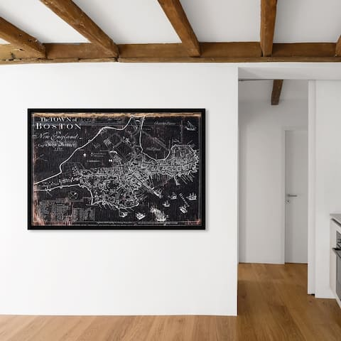 Oliver Gal 'Town of Boston Map 1722' Maps and Flags Framed Wall Art Prints US Cities Maps - Black, White