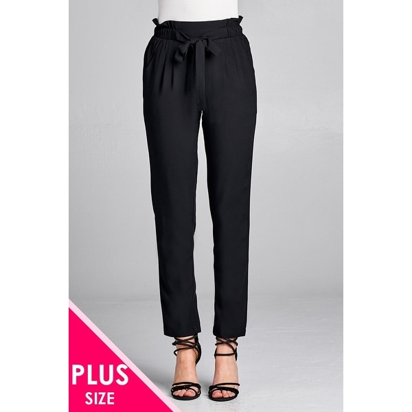 8abd5edda42e Ladies Fashion Plus Size Self Ribbon Detail Long Leg Woven Pants - Size -  2Xl