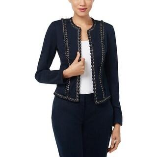 Michael Kors Womens Jacket Lace Up Faux Leather Trim