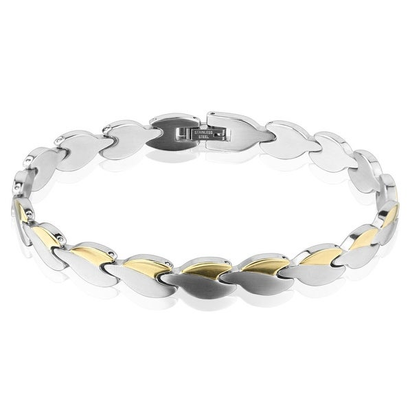 Two Tone Heart Chain Gold IP Stainless Steel Bracelet (8.7 mm) - 9 in