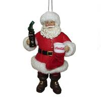 Pack of 6 Red and White Coca-Cola Santa Claus with Stocking Christmas Ornaments 4""