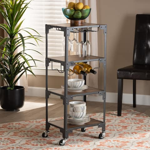 Victor Industrial Rustic 4-Tier Mobile Wine Cart