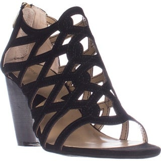 Adrienne Vittadini Alby Caged Wedge Sandals, Black