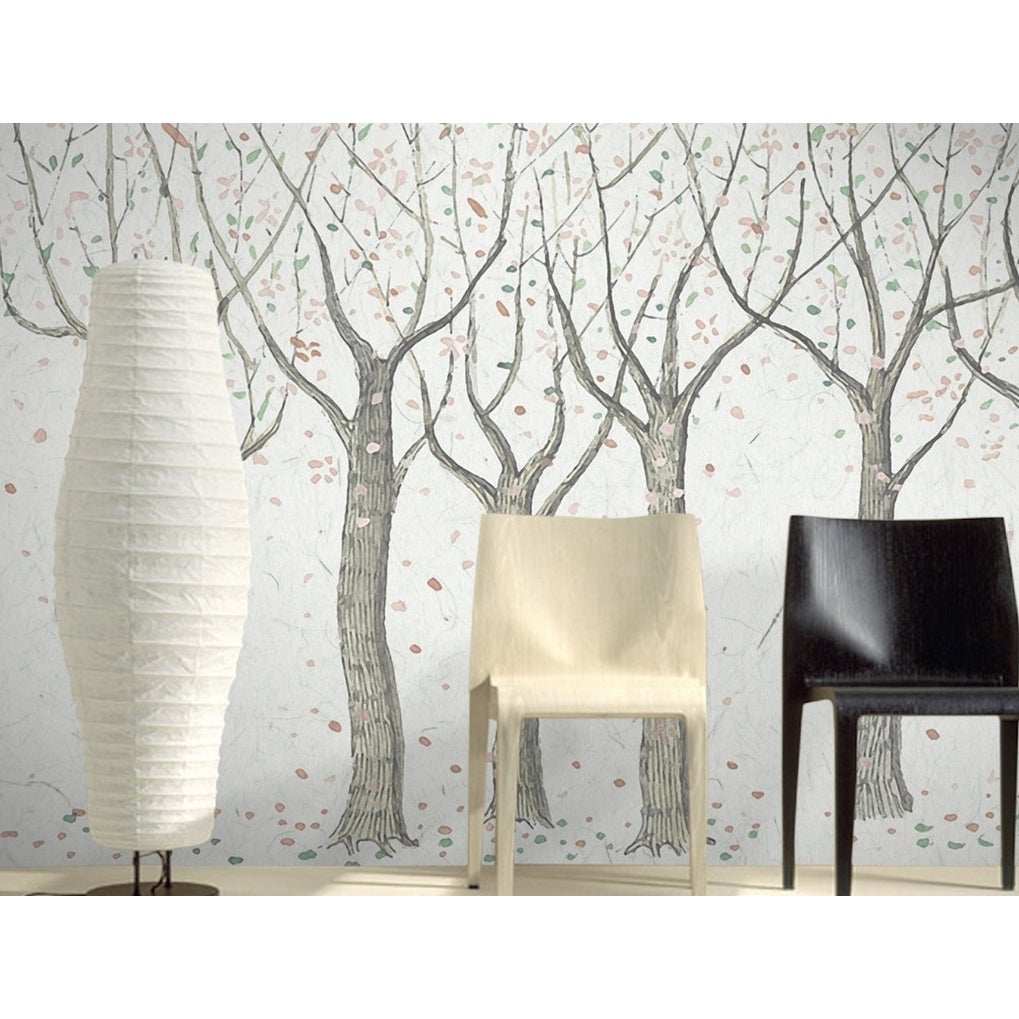 Vintage Leaf Abstract Forest Drawing Removable Textile Wallpaper Overstock 31419703