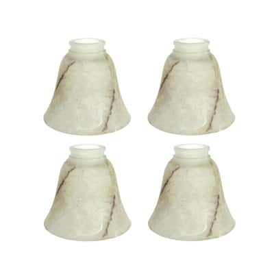 """Aspen Creative Replacement Bell Shaped Alabaster Glass Shade, 2 1/8"""" Fitter Size, 4 3/4"""" high x 5 3/8"""" diameter, 4 Pack"""