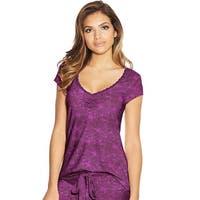 Maidenform Lace Trim Cap Sleeve Tee - Color - Purple Floral - Size - M
