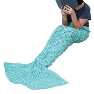 Women's Mermaid Tale Blanket - Aqua - Knit Afghan Throw Personal Fantasy Blanket