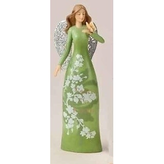 "8"" Christmas Garden Green Floral Angel Figure with Verse"