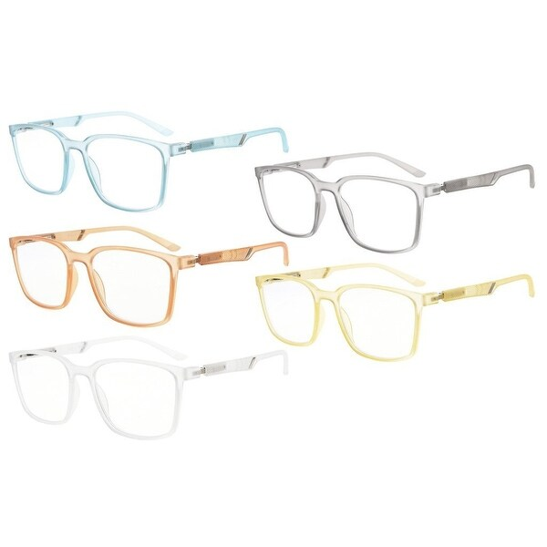 d52f5f38fd8c Eyekepper 5-Pack Large Plastic Frame Mens Womens Reading Glasses With  Special Spring Hinge (