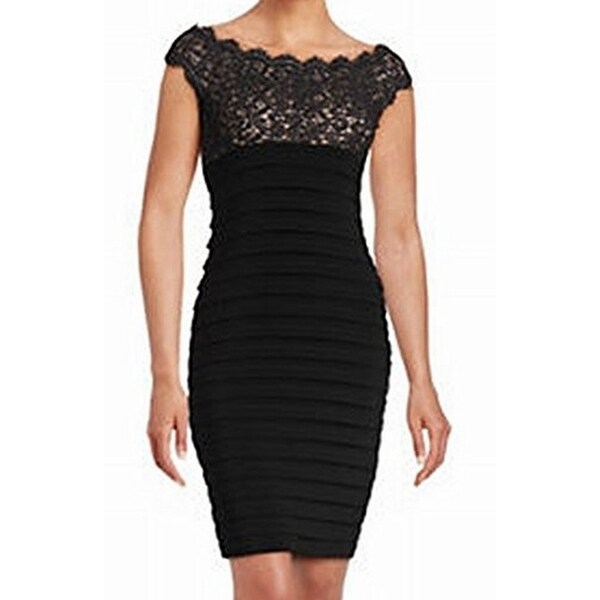 686f87911da Shop Xscape NEW Black Women s Size 2 Lace Pleated Stretch Bodycon Dress -  Free Shipping On Orders Over  45 - Overstock - 18850253