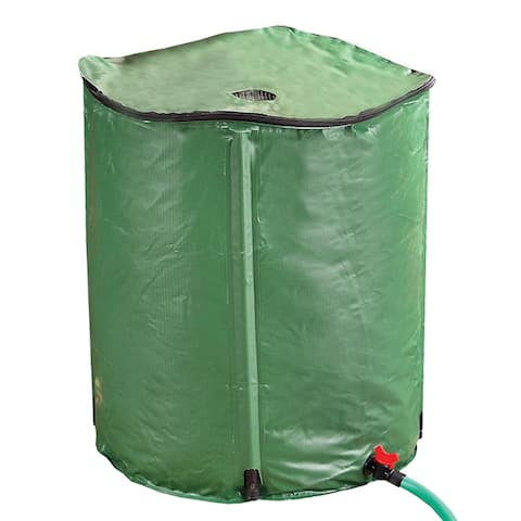 """Portable Rain Barrel - 50 Gallons - Water Collector Tank Collapsible Storage Container - 28"""" Tall x 24"""" Diameter"""