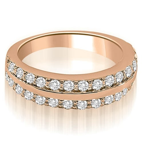 1.00 cttw. 14K Rose Gold Two Row Round Cut Diamond Wedding Ring