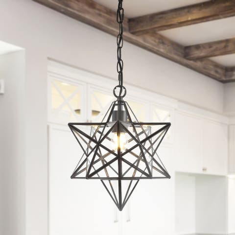 "Stella 12"" Moravian Star Glass Pendant by JONATHAN Y - 1 Light"