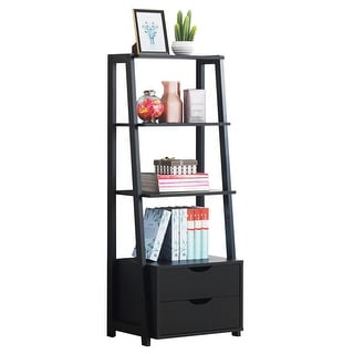 Costway 4-Tier Ladder Shelf Bookshelf Bookcase Storage Display Leaning With 2 Drawers