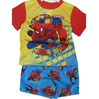 Spiderman Little Boys Sky Blue Superhero Cartoon Inspired 2 Pc Shorts Set 2T-4T