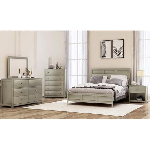 Merax Classic Chatham Platinum Silver 6 Piece Bedroom Set