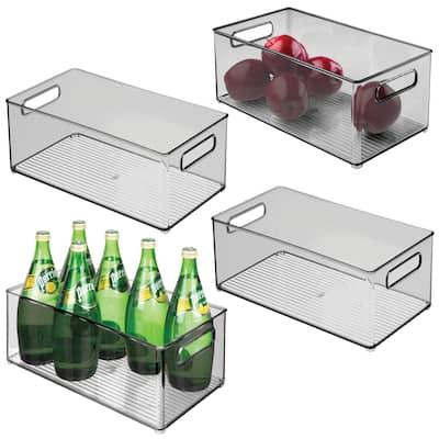 mDesign Plastic Kitchen Food Storage Organizer Bin, Handles, 4 Pack