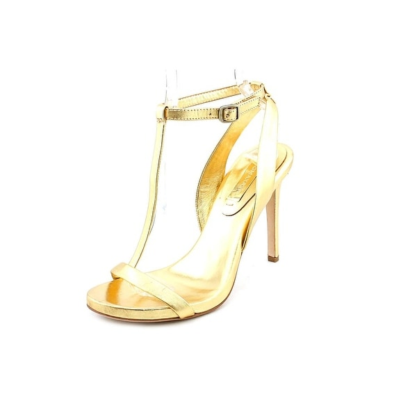 BCBG Max Azria Danya Women Open Toe Leather Gold Sandals