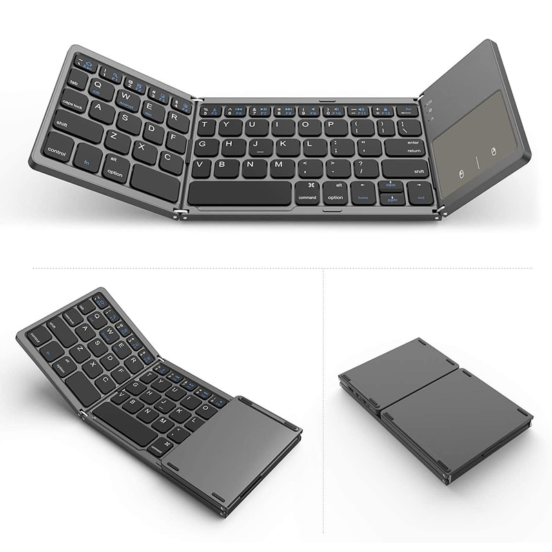 HLOIPYUR Foldable Wireless Bluetooth Keyboard with Ttouchpad for ipad//iPhone//MacBook//PC Computer//Android Tablet
