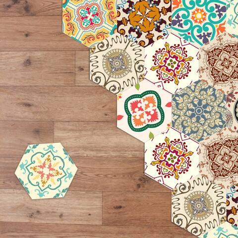 Walplus Colourful Turkish Hexagon Floor Tiles Stickers Home Decor Art