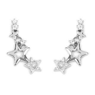 "Riah Fashion's Tiny Stars Crawler Earrings - 0.5"" length"