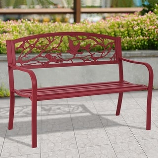 Costway Patio Garden Bench Park Yard Outdoor Furniture Cast Iron Porch Chair Red