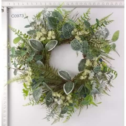 Eucalyptus, Ivy and Fern Artificial Spring Wreath, Green 22-Inch