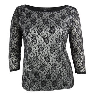 August Silk Women's Two-Tone Bonded Lace Knit Top