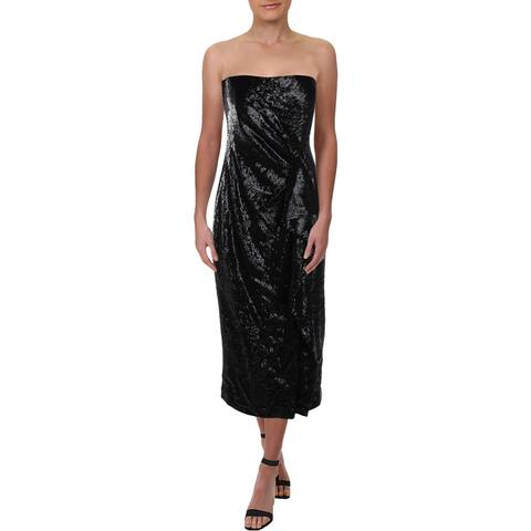 Rachel Zoe Womens Cocktail Dress Sequined Ruffled - Black