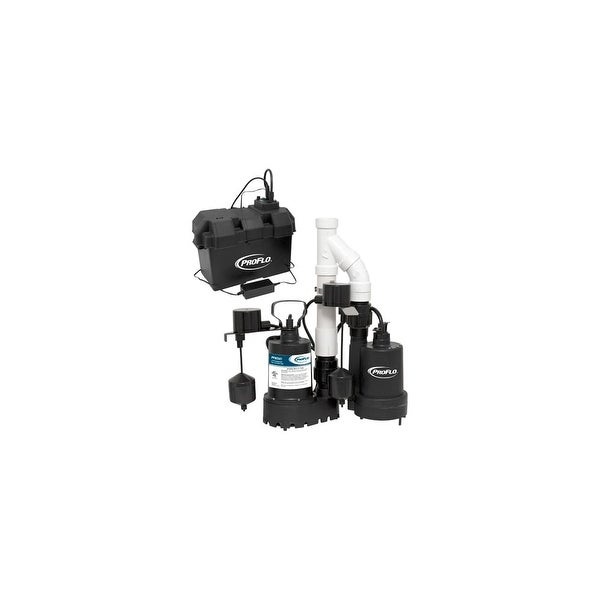 PROFLO PF92941 3/10 HP Cast Iron Submersible Sump Pump with Vertical Switch and 12 Volt Back Up Pump System