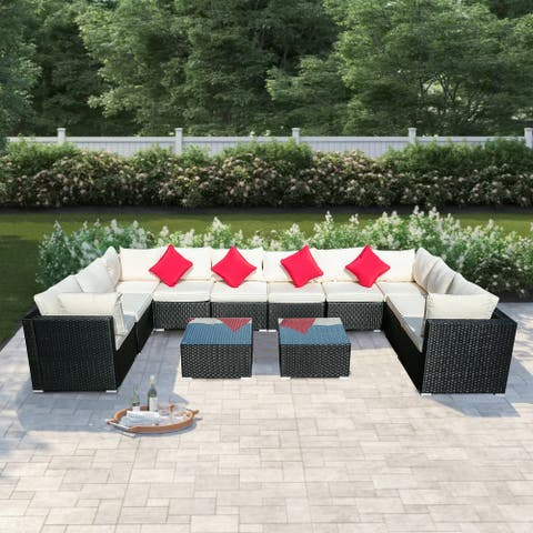 The Curated Nomad 12pc Rattan Wicker Furniture Sectional Sofa Set Blue