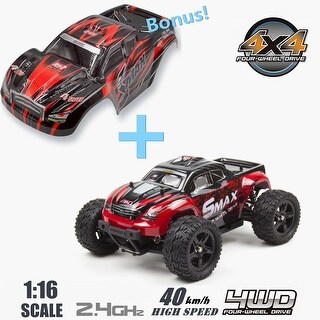 REMO 1/16 Scale RC Truck 4WD Remote Control Car High Speed Off-Road Vehicle with Extral Car Shell Blue/Red