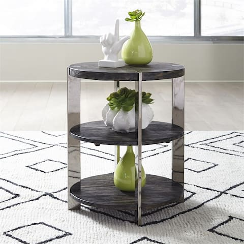 Paxton Charcoal with Chrome Plated Metal Chair Side Table