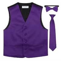 Little Boys Purple Vest Bow-tie Tie Special Occasion 3 Pcs Set
