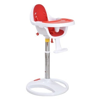 Costway Red Pedestal Baby High Chair Infant Durable Feeding Dining Table Safety Seat