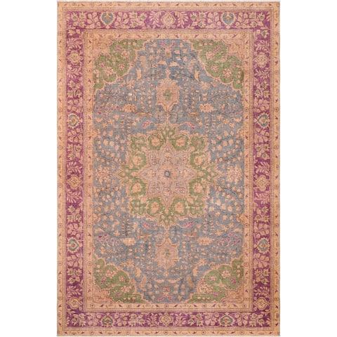 "Vintage Distressed Lynn Blue/Purple Wool Rug - 6'4"" x 9'1"""