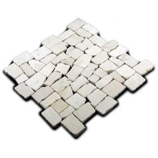 Miseno MT-Q3RWH Cube Mosaic Natural Stone Tile (9.68 SF / Carton)