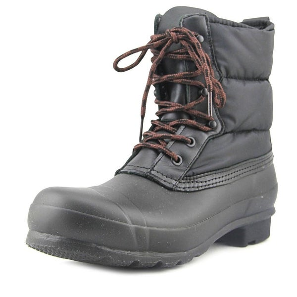 Hunter Originl Quilted Lace Up Short Women Round Toe Canvas Black Snow Boot