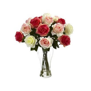 Nearly Natural orted Blooming Roses with Vase tored Pastels