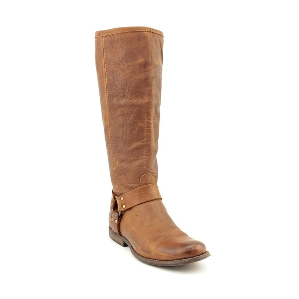 Frye Phillip Harness Tall Round Toe Leather Knee High Boot