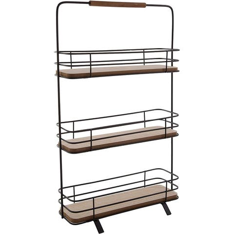 "Countertop 3 Tier Spice Rack Kitchen Organizer, 11"" Wide, 3 Herb Shelves, Wired Black Metal and Wood, With Handle (3 Tier)"
