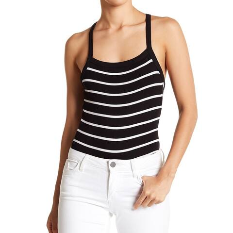 Abound Black Women's Size Small S Striped Bodysuit Scoop Neck Tank Top 099